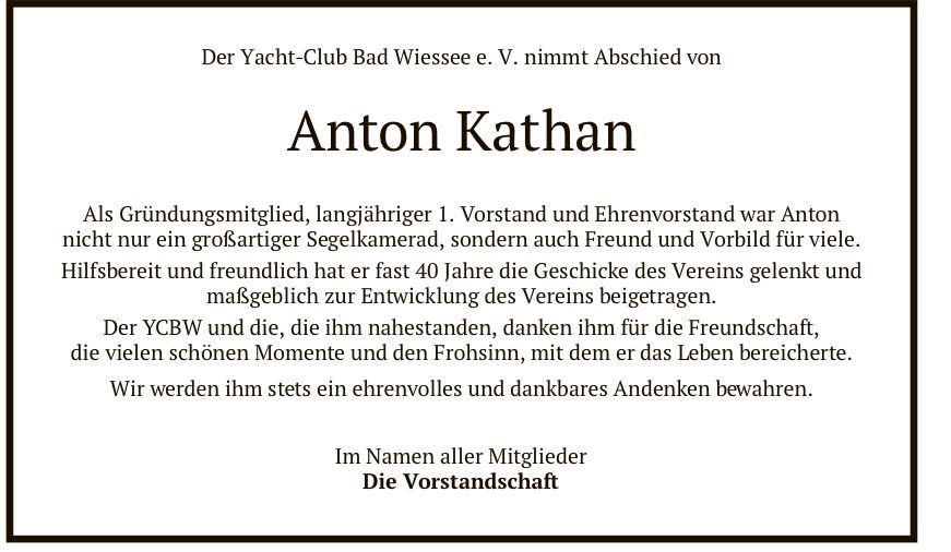 Todesanzeige Anton Kathan