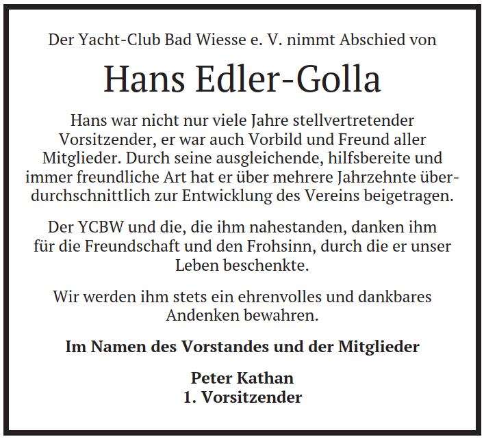 Traueranzeige Hans Edler-Golla